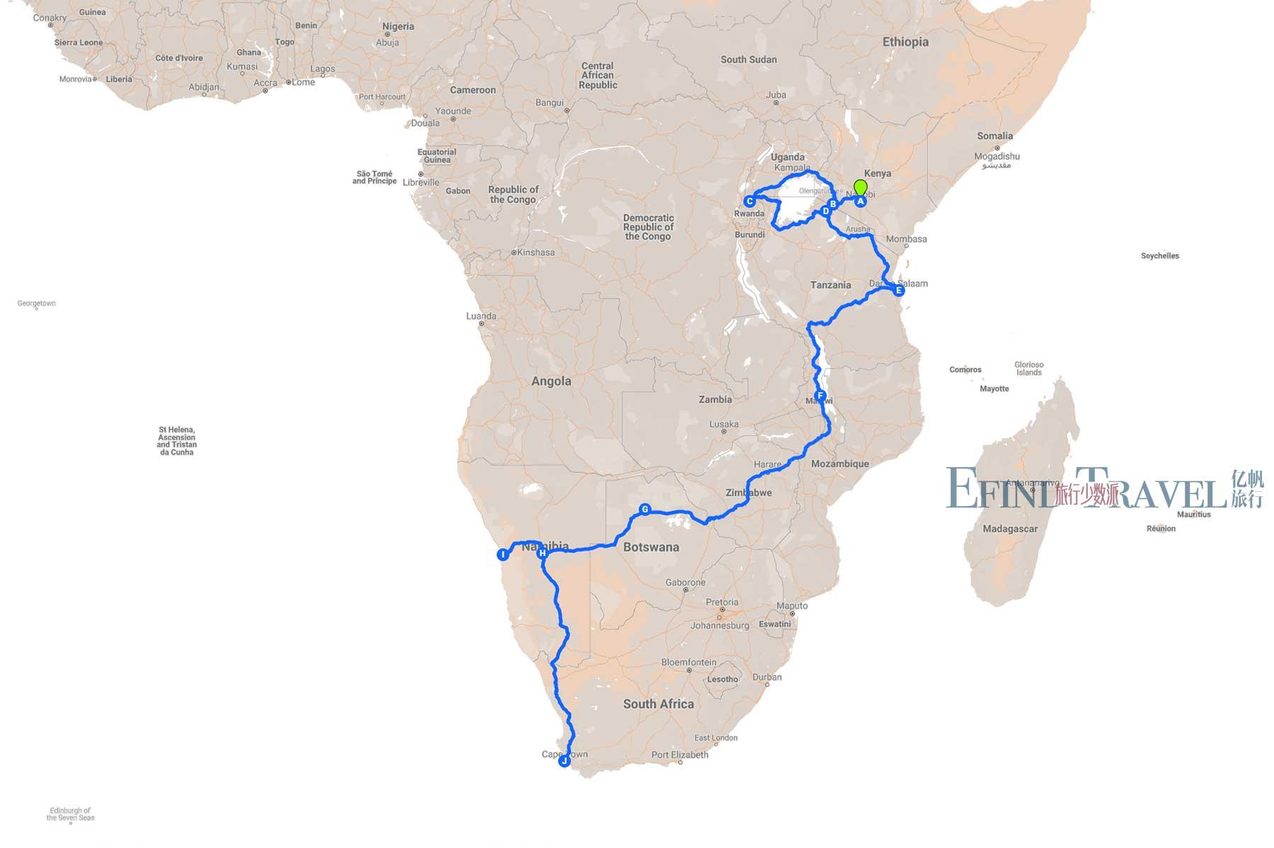 穿越非洲旅游57天地图