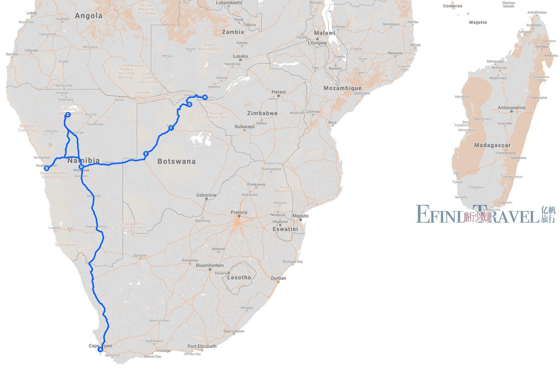 穿越非洲旅游22天地图