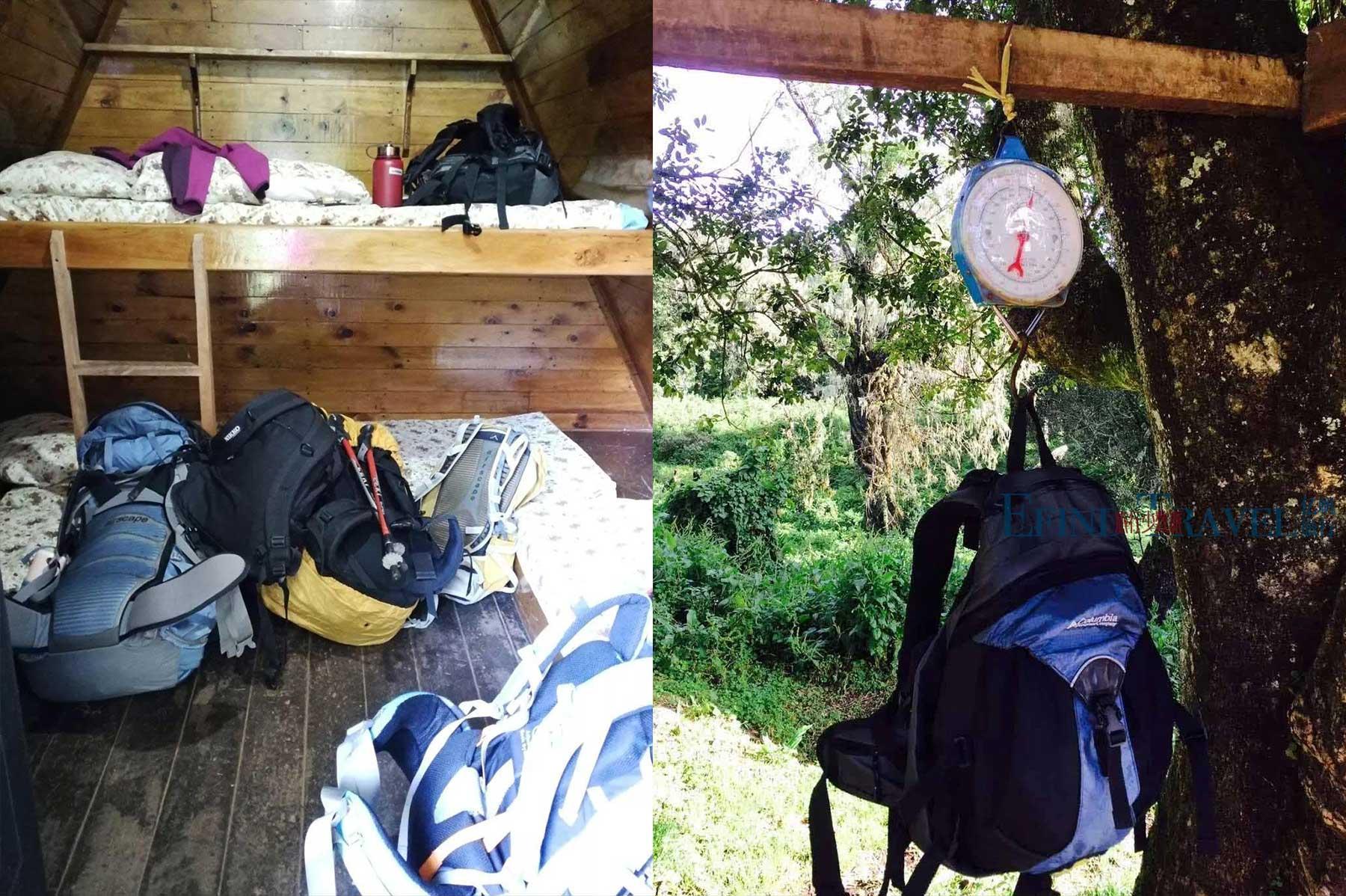 马兰古线的小木屋和行李称重
