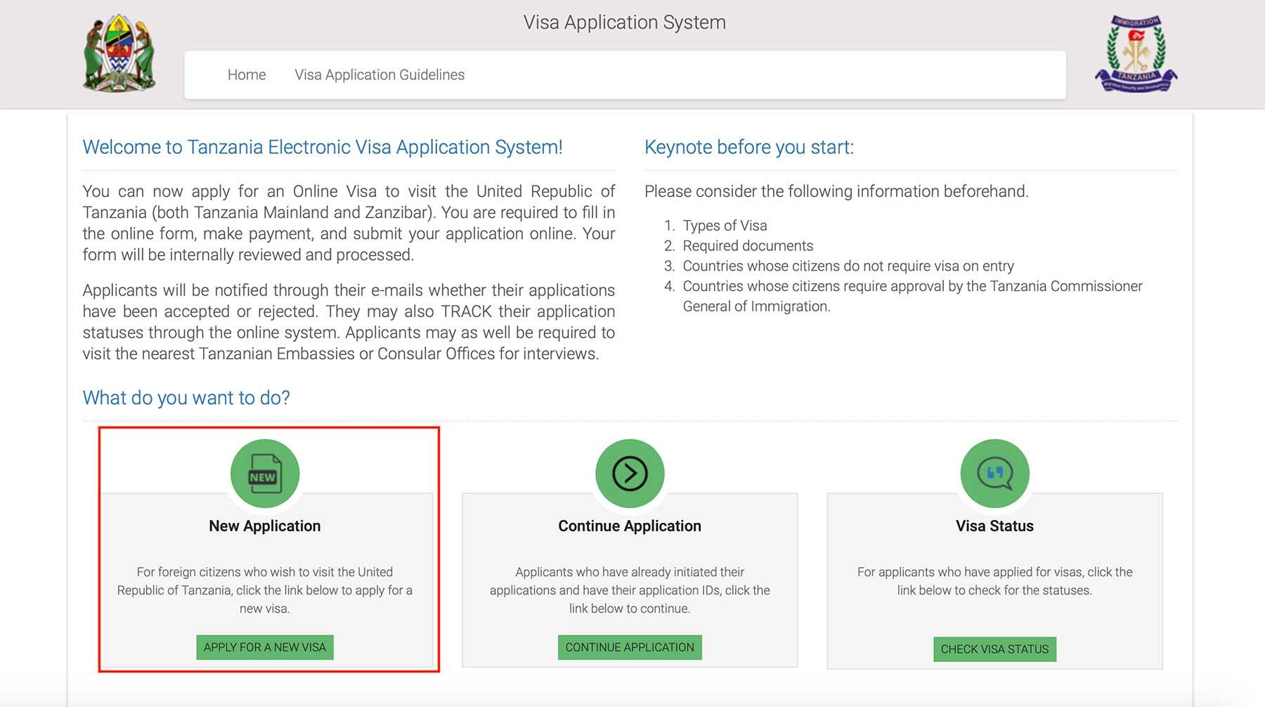 坦桑尼亚电子签证创建一个新申请