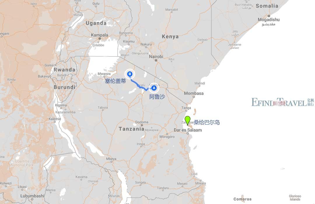 坦桑尼亚海陆双拼七7日游地图